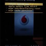 Hlavní obrazovka Recovery menu